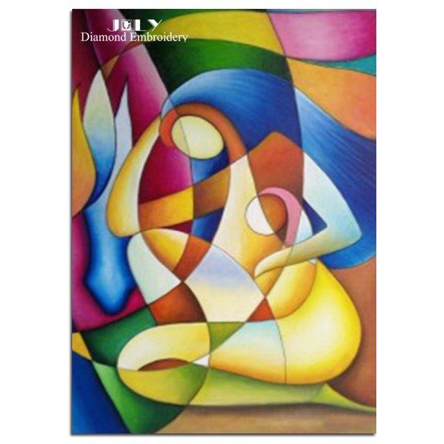 Diamant schilderen kruissteek handwerk abstract mensen borduren met diamant mozaïek meisje foto van steentjes abstract art