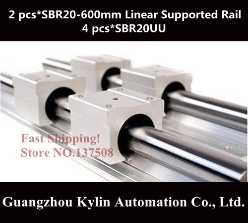 45.00$  Buy here - http://alimt7.worldwells.pw/go.php?t=1773488579 - Best Price! 2 pcs SBR20 600mm linear bearing supported rails+4 pcs SBR20UU bearing blocks,sbr20 length 600mm for CNC parts 45.00$