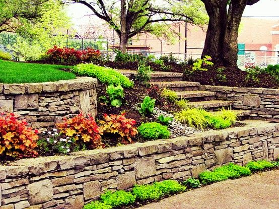 This Terraced Dry Stacked Basalt Retaining Wall With