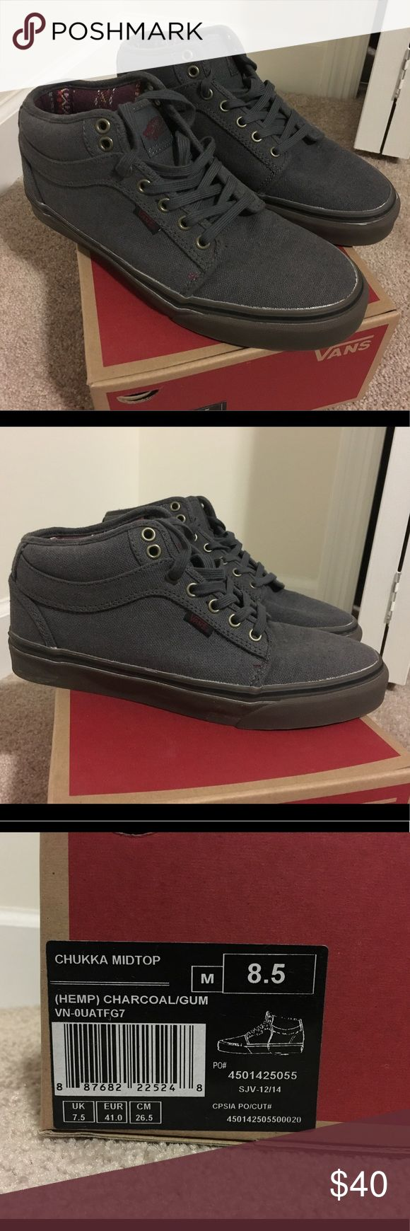 Vans Chukka Midtop Charcoal Worn Once, excellent condition and super comfortable Vans Shoes Chukka Boots