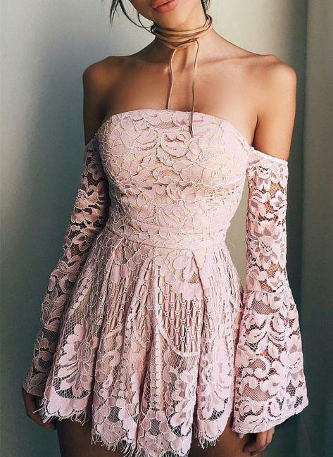 Süße rosa Spitze aus der Schulter Homecoming Kleid, lange Ärmel Mini Homecoming Graduation Dr