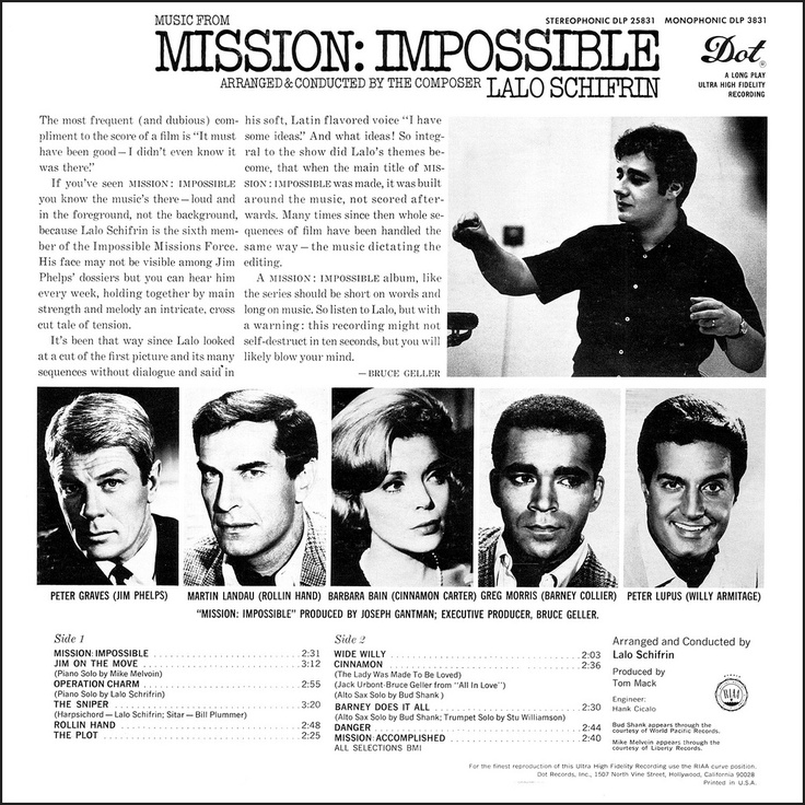 Music from Mission: Impossible (1966 LP Back Cover) Arranged & Conducted by the Composer, Lalo Schifrin — with the original cast: Peter Graves, Martin landau, Barbara Bain, Greg Morris & Peter Lupus