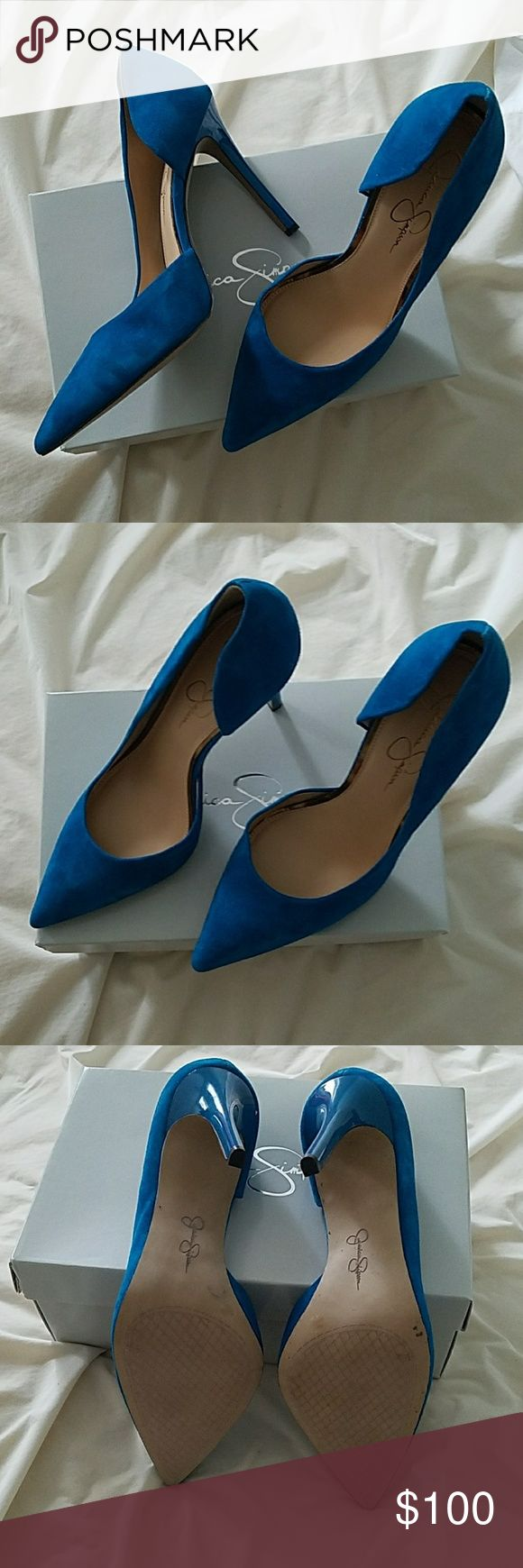 NWT Jessica Simpson Blue Suede Heels Jessica Simpson blue suede heels. Never worn! I bought them with no idea what I would wear them with, and after a couple of years, I haven't worn them once. They are a gorgeous royal blue, pointed toe, with a 3-4 inch heel. Still in the box (except for pics). These would be stunning with a simple black dress, or even dress them down with jeans and a plain tshirt! Jessica Simpson Shoes Heels