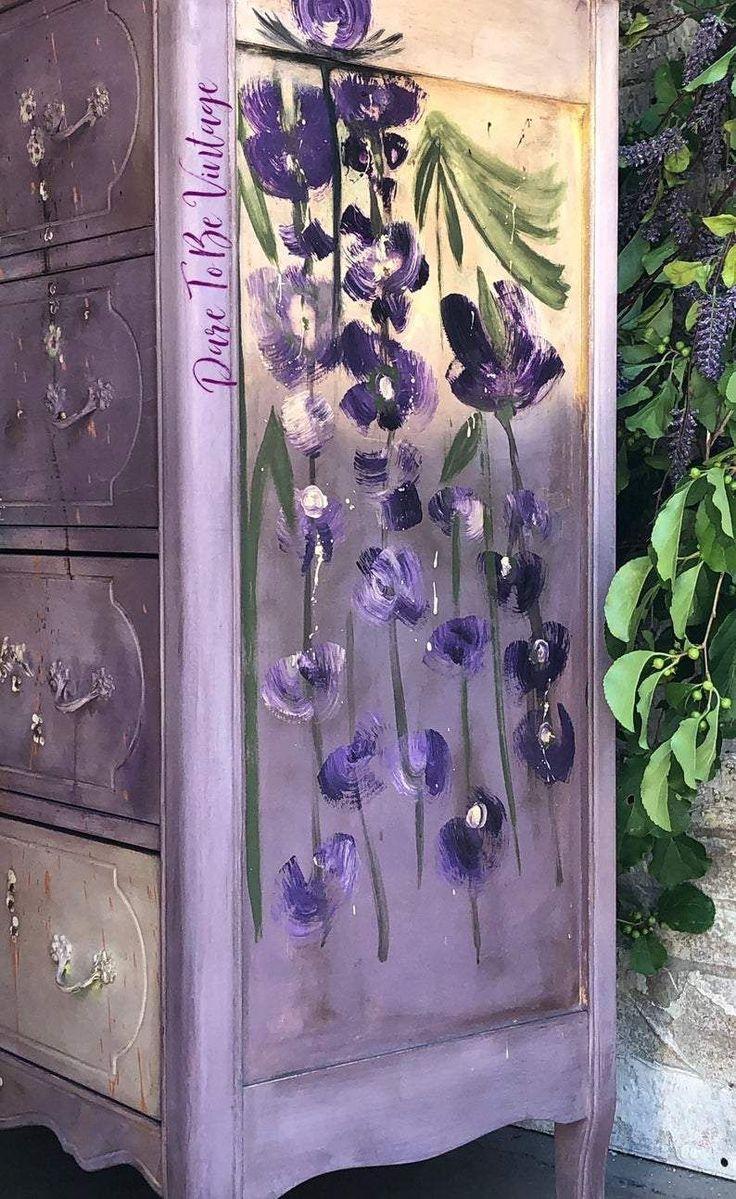 Handgemalte Vintage Kommode mit Blumenmuster #furnitureredos Handgemalte Vintage Kommode mit Blumenmuster #furnitureredos