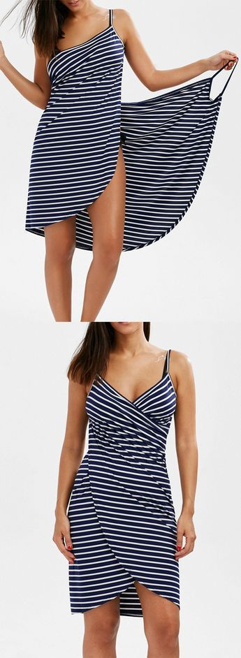 I love the simplicity of this little dress.  Open Back Striped Cover-ups Dres