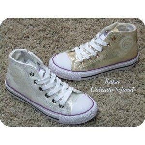 calzado infantil , zapatillas altas lona , calzado juvenil , lonetas plateadas y doradas