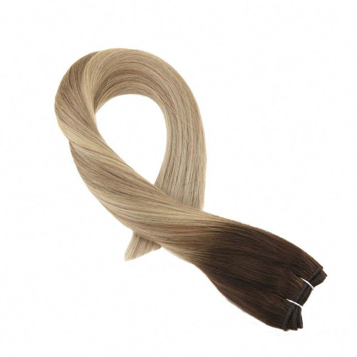 100g Straight Hair Weft in Balayage Brown #3 Fading to Brown #8 and Blonde #22(#3/8/22