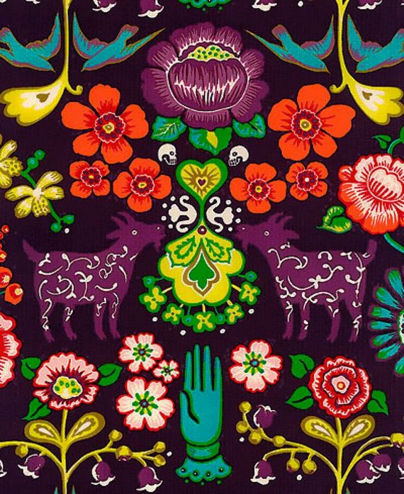 Alexander Henry Las Golondrinas in Eggplant / by BobbieLouFabric, $3.00