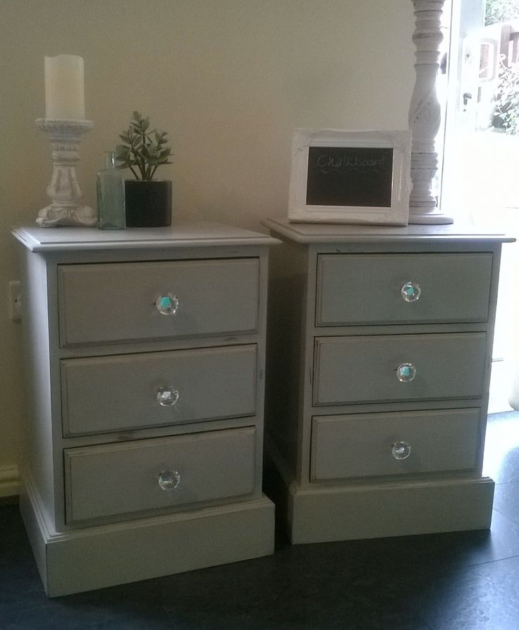Kelly Austin. The Shabby Chic Sisters. Beautiful heavy pine bedside tables painted in Annie Sloan Chalk Paint 'Paris Grey'. For Sale £100 the pair.