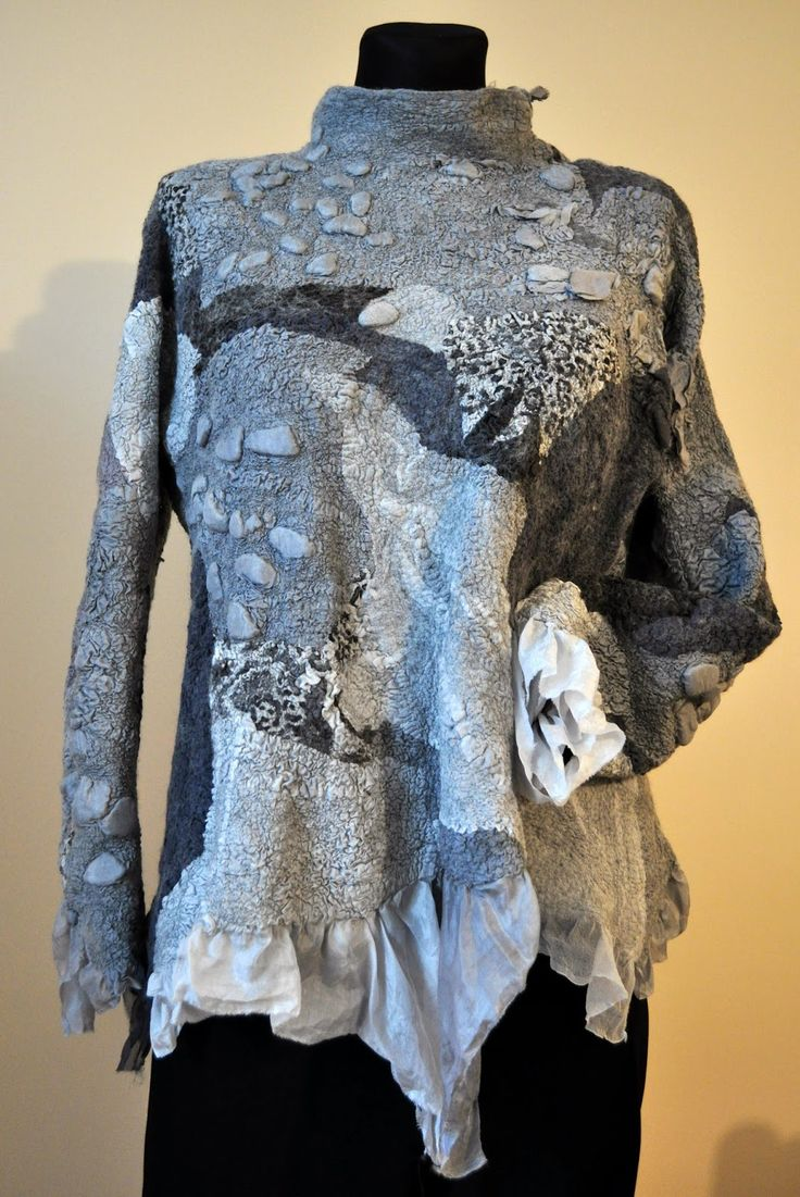 nunofelt, grey, blouse, jacket, felted, felted fashion, fashion