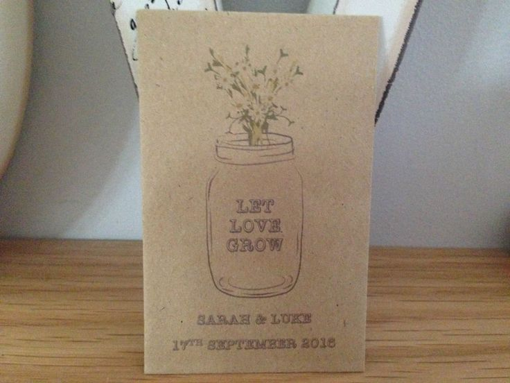 Personalised Seed Packets Envelopes Wedding Favours Vintage Daisy Jar