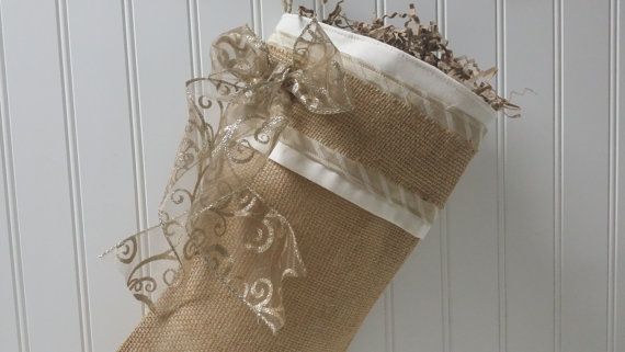 Natural burlap Christmas Stocking with gold and cream accents
