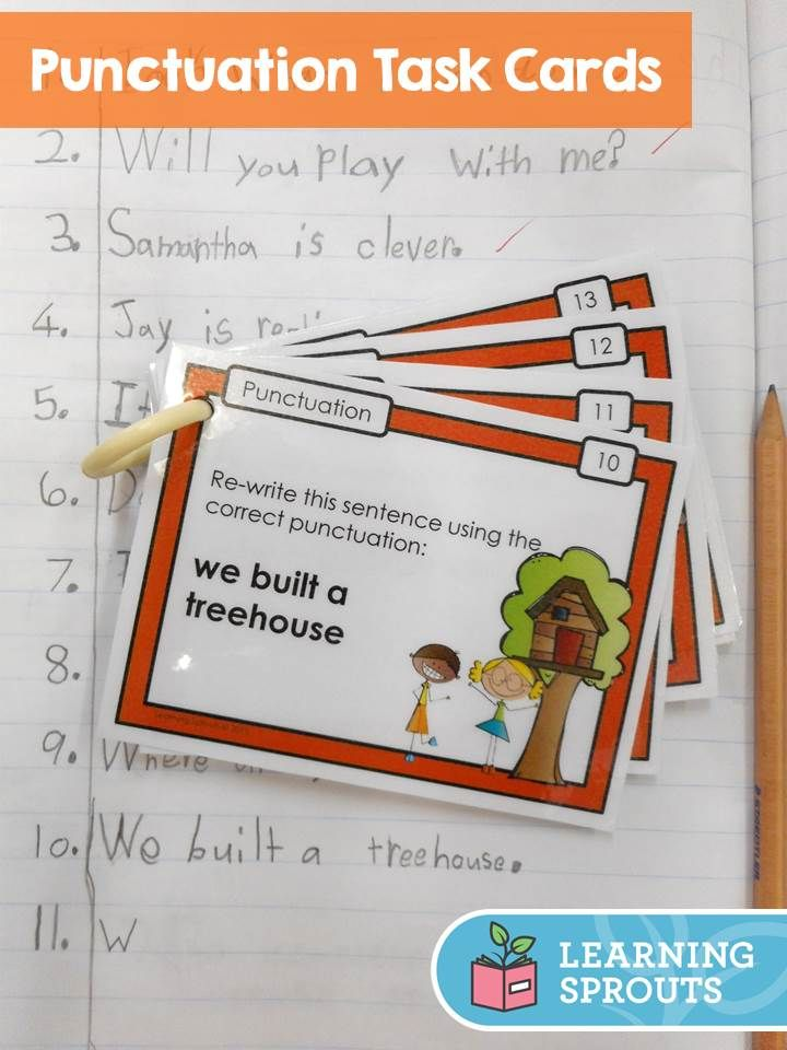 Fun task cards to help kids concentrate on using correct end marks (periods / full stops, question marks and exclamation marks) and capital letters.