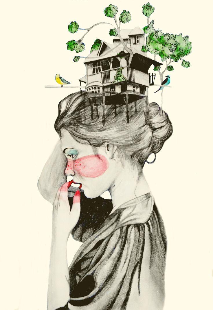 """""""La casa que habito"""" Ilustración hecha por Nicoleta #Nicoletaller"""