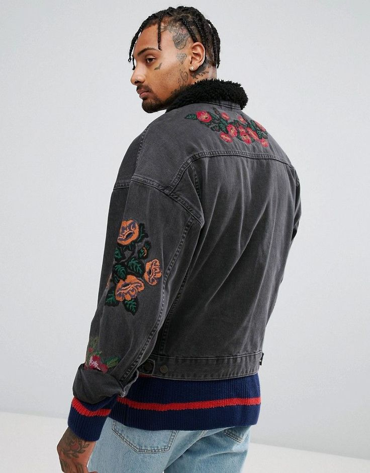 ASOS Denim Jacket With Embroidery & Fleece Collar In Black Wash - Blac
