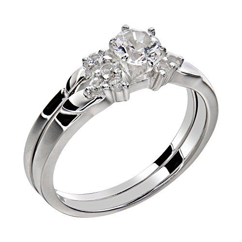 Stainless Steel White Round Shape Cubic Zirconia Women Wedding Ring Set Size 5 To 10 SPJ