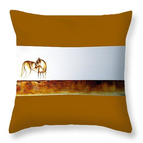 "Lioness Throw Pillow 14"" x 14"" by Tracey Armstrong"