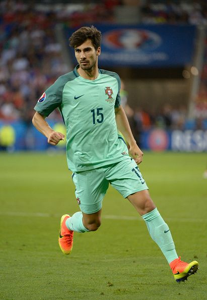 #EURO2016 Andre Gomes in action for Portugal during the UEFA EURO 2016 semi final match between Portugal and Wales at Stade des Lumieres on July 6 2016 in Lyon...