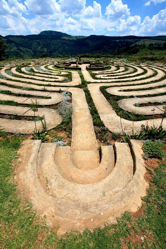 The Labyrinth at The Edge, a mountain retreat in Hogsback in the Eastern Cape, is an eleven circuit Labyrinth, similar in design to the Chartres Cathedral Labyrinth in France, and displays one of the most elaborate Labyrinth designs. The Labyrinth which was completed in 2002, displays a straight line distance of seven hundred meters to its center, and the actual distance traveled along its path is 1.4 kilometers, which makes it one of the world's largest.