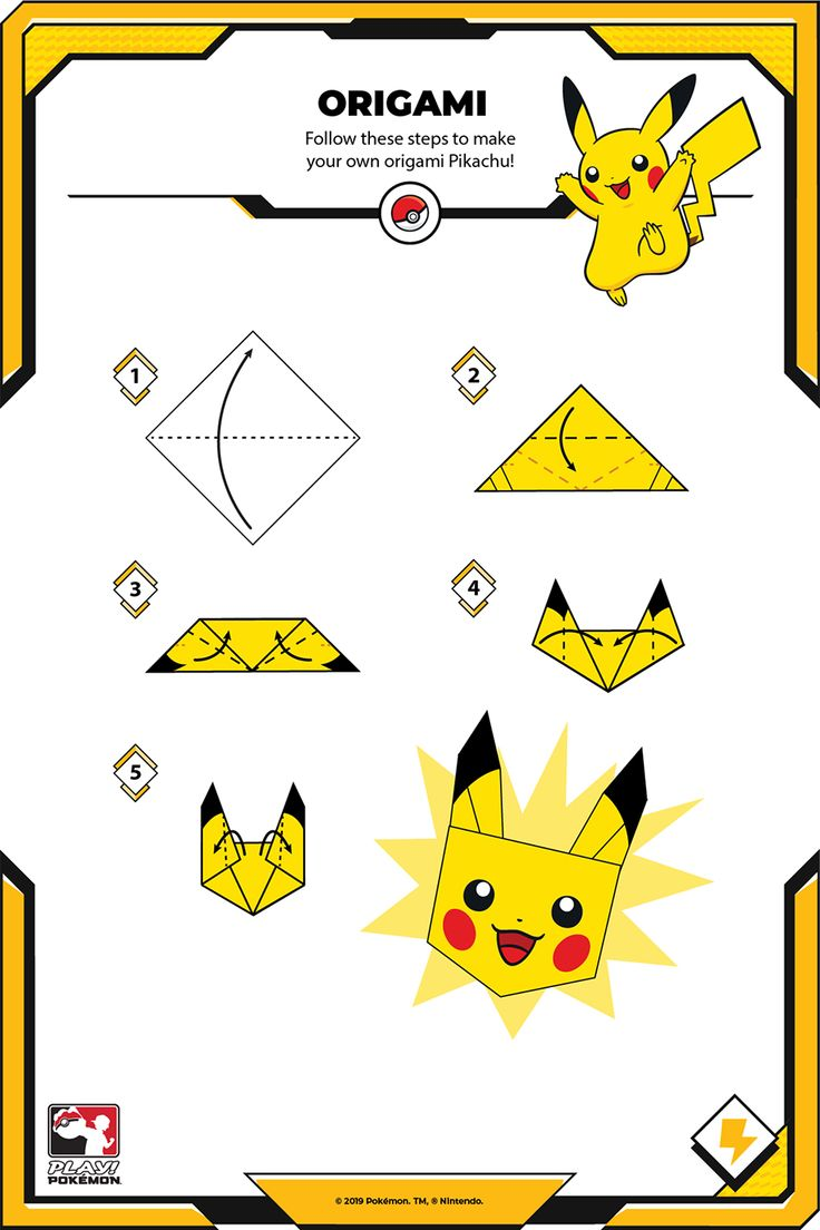 Follow these steps to make your own origami Pikachu! Home Activities, Creative Activities, Creative Kids, Pikachu Pikachu, Origami, Fairy Tail Pictures, Play Pokemon, Make Your Own, How To Make