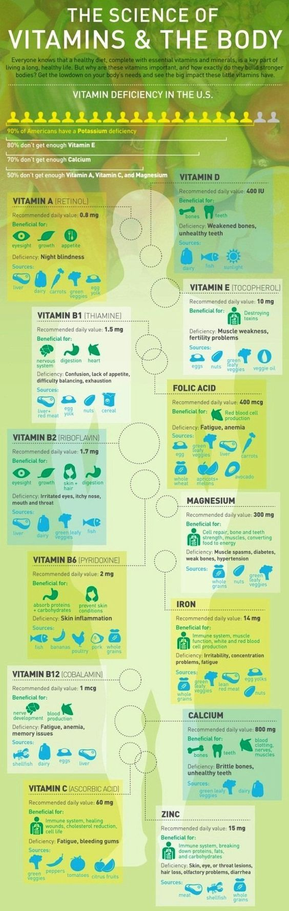 Vitamins, Food Sources, and How Defficiencies Affect Your Body