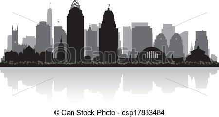 Vector - Cincinnati Ohio city skyline silhouette - stock illustration ...
