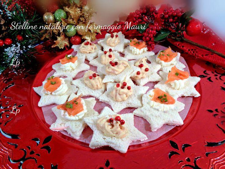 Antipasto+di+Natale,stelline+al+formaggio+tonno+e+salmone