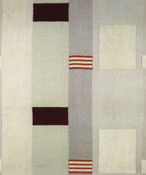 Barbara Hepworth, Pillar, 1937, woven cotton and rayon furnishing fabric, produced by Edinburgh Weavers.