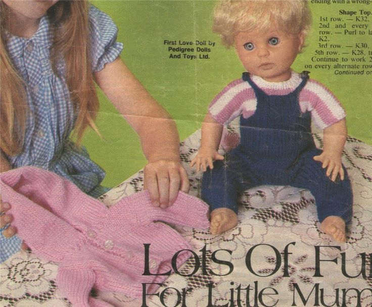 Tiny Tears Knitting Patterns : Dolls Clothes Knitting Pattern : First Love : Tiny Tears : 16 inch baby doll ...