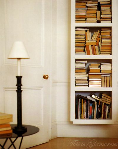 An arragement of books when lacking space.