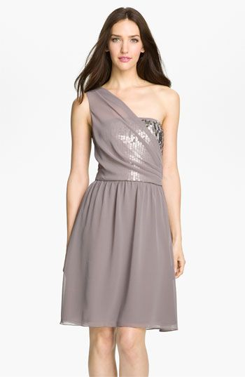 Donna Ricco One Shoulder Chiffon Dress with Sequin Trim | Nordstrom