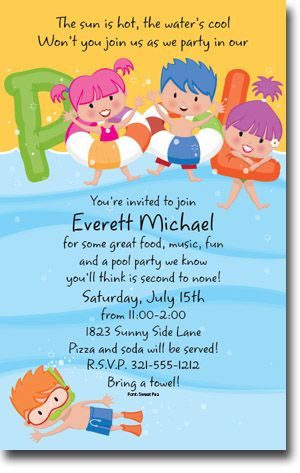 40 best kids birthday party themes images on pinterest birthdays pool party theme for kids birthday party cute invitation for little ones party filmwisefo