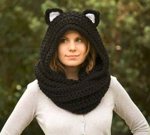 cuello capucha gran bufanda tejido artesanal orejas pantera
