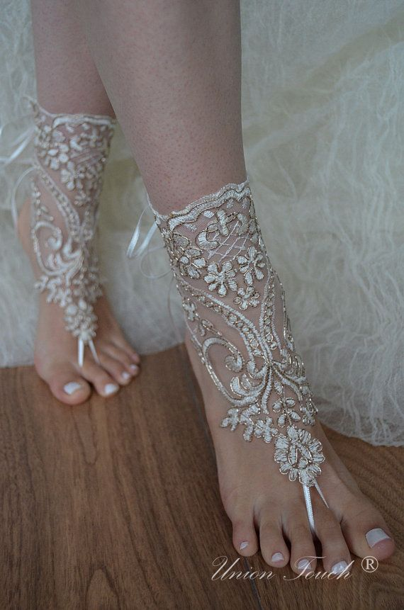 ivory gold frame,Beach wedding sandals, ivory barefoot , french lace sandals, wedding anklet, Beach wedding barefoot sandals.