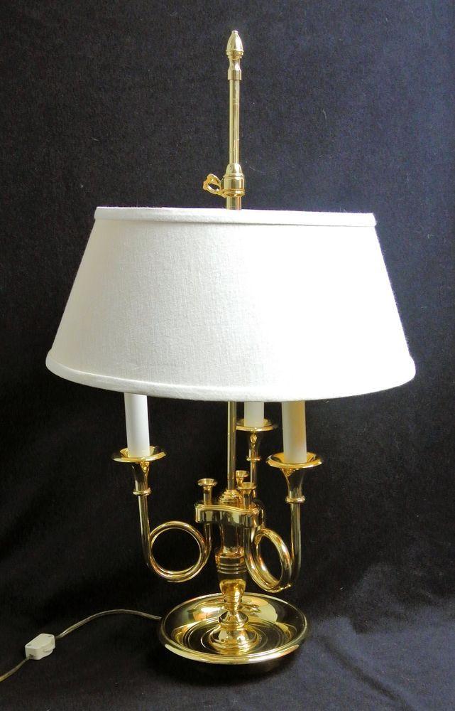 Baldwin Brass Bouillotte Triple Horn Trumpet Desk Table Lamp W Shade