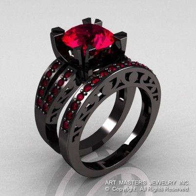 modern vintage 14k black gold 30 carat ruby solitaire and wedding ring bridal set r102s - Million Dollar Wedding Ring