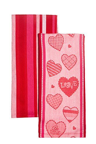 DII Love in Hearts and Red and Pink Stripe Towels - Set o…