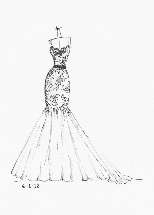 Wedding dress sketch bridal sketches pinterest for How to draw a wedding dress
