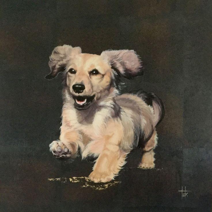 'Boris' pet portrait - Acrylic on wood panel (background black silver oxide leaf)
