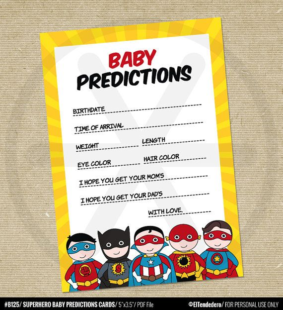 Baby predictions game Superhero Baby shower games by eltendedero                                                                                                                                                                                 More