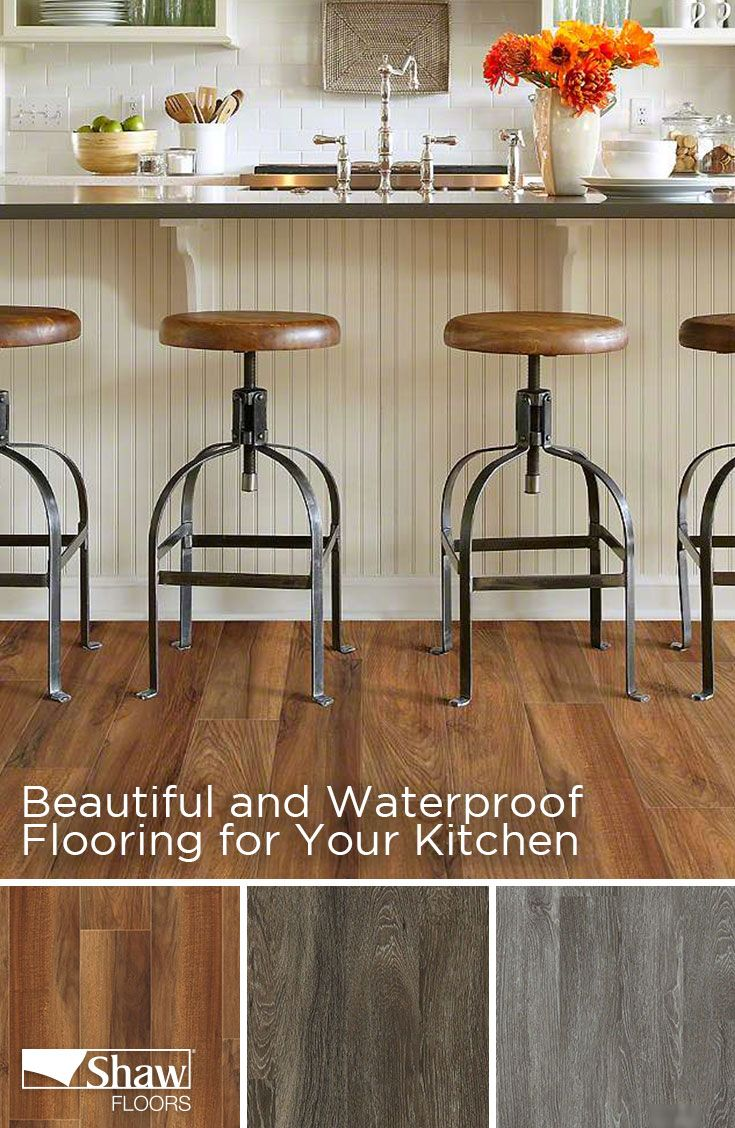 Mantua Plank by Shaw Floors comes in 9 colors varying from light grey to dark brown. This Floorté, luxury vinyl plank is not only beautiful, but also durable and waterproof making it one of the best flooring options for your kitchen.