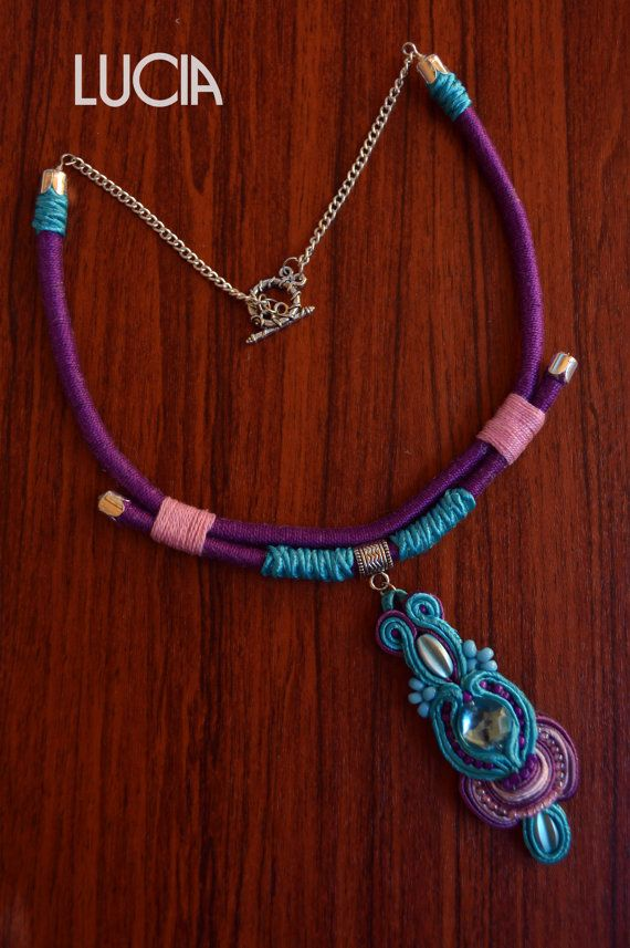 Blue and purple soutache necklace by LuciaProducts on Etsy