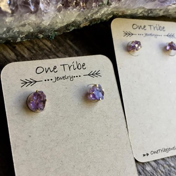 Raw AMETHYST Stud Earrings  18K over sterling silver  rough stone studs  purple stone earrings  February birthstone  gift boxed