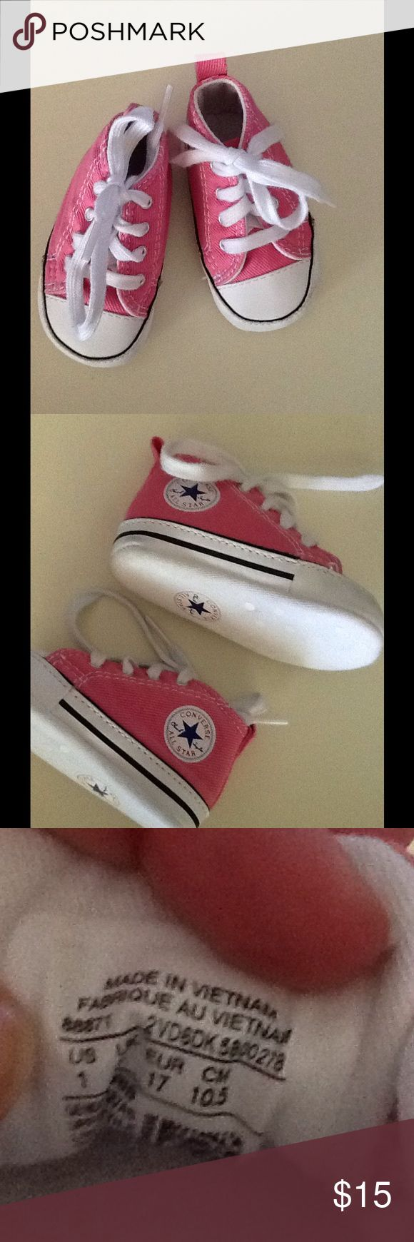 Converse All Star Infant Girl Pink High Top Shoes Converse All Star Infant Girl Pink High Top Shoes Size 1. Perfect condition. Soft bottom Converse Shoes Sneakers