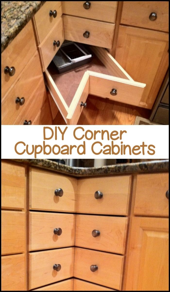 These corner cabinet drawers provide easy access without having to knock off items! Is this going to be your next DIY project?