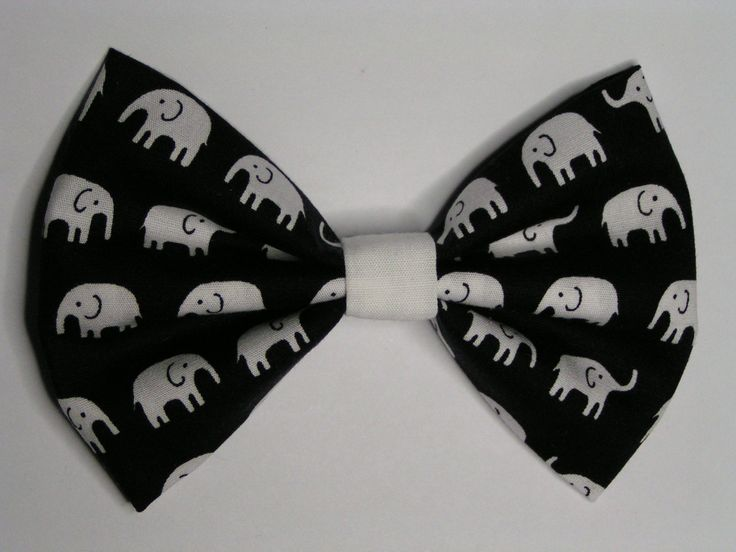 White Elephants fabric hair bow clip, Hair clips for kids and teens, hair clips for women, small hair bows. $3.50, via Etsy.