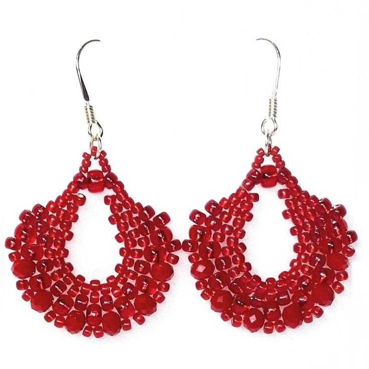 #kolczyki #earrings #red #ruby #toho #peyote #rondelle #karmazyn #czerwień