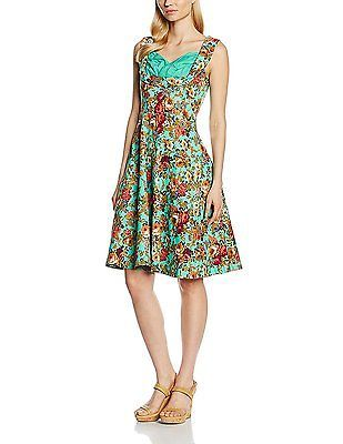 16, Turquoise, Lindy Bop Women's Ophelia Turq Floral Dress NEW