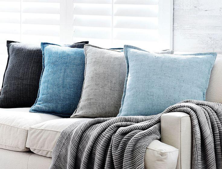 Bed Bath N' Table - blue slubbed cushions 50cm x 50cm