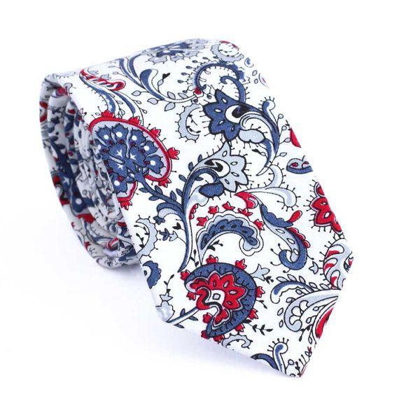 Skinny Men's Ties, Paisley Skinny Tie, Cotton Necktie, Men's Cotton Skinny Tie